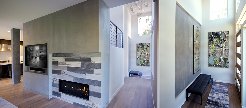 Kirkland, WA, Private Residence Design: Living Room Fireplace & Entry
