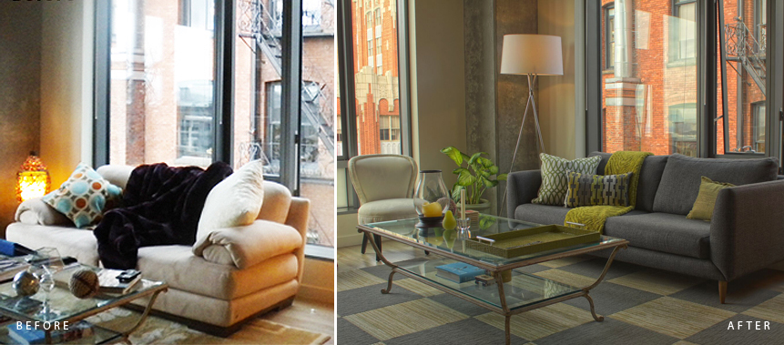 BEFORE & AFTER: STYLING WITH COLOR, TEXTURE, ORDER, & CONTEMPORARY SOFA