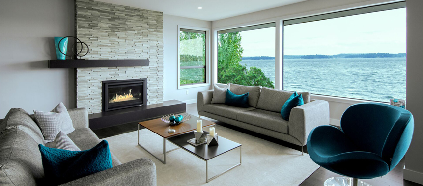 Kirkland, WA, Water Front Private Residence Design: Living Area