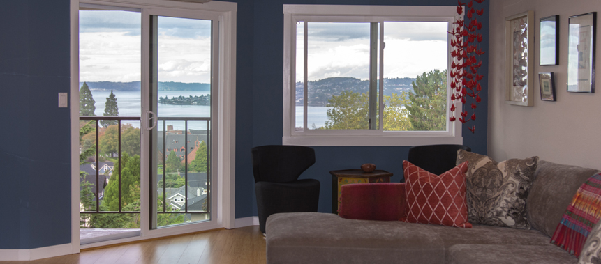Blue accent wall points to lake view