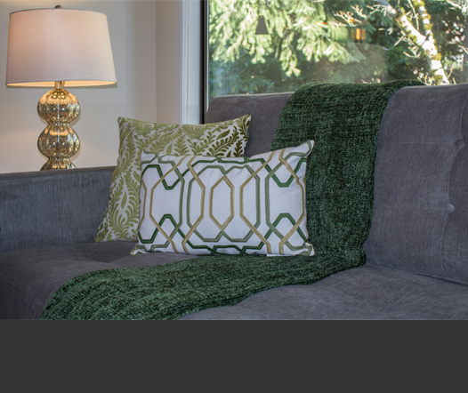 Pillows on the sofa provide a pop of color.