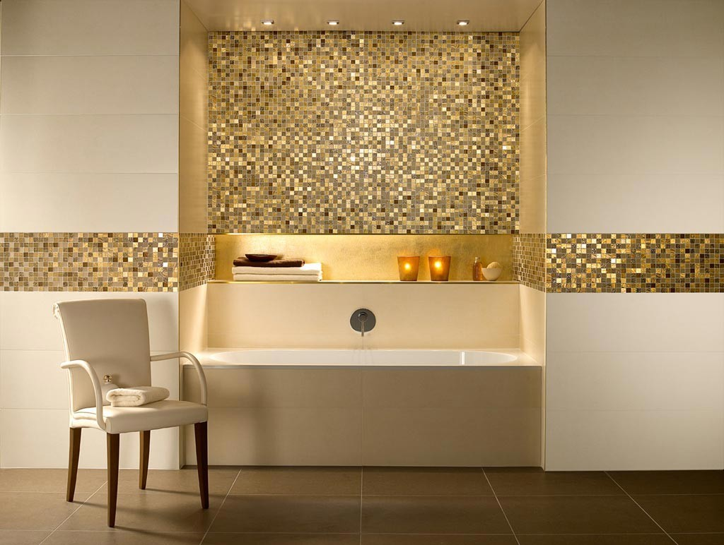 Backsplash makes a dramatic, golden statement.
