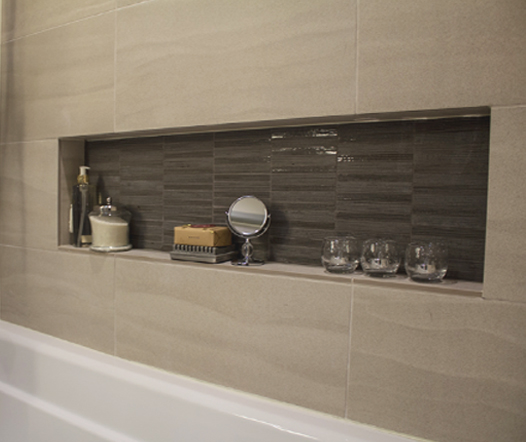 Wavy Finish on Bathroom Wall Home Remodeling, with Shower Niche